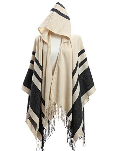 Amy Babe Aztec Print Bohemian Blanket Poncho Cape Shawl Tassel with Hoodie Cloak (One Size(XS-L), Stripe Beige)