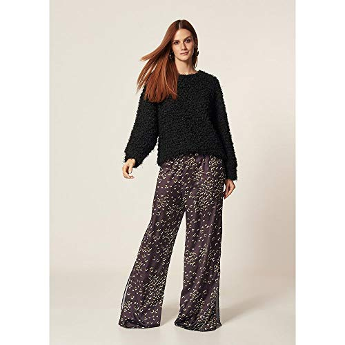 Calça Pantalona Fendas Laterais Estampado - 42