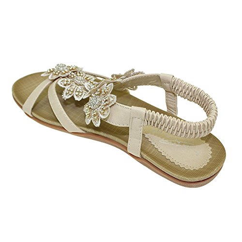 Lunar Women's JLH664 Fiji Sandals, with Stunning Flower Trims and Padded Insole, Navy,White,Beige,Black,Tan,Red, Rose Gold, Silver and Pewter 3,4,5,6,7,8 Beige 4