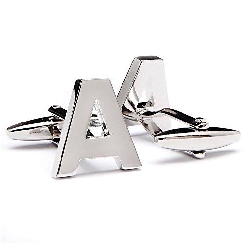 Three Keys Jewelry Cuff Links Initial Personalized Silver Capital Alphabet Letter A Cufflinks GD-390A