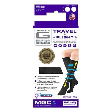 Neo G Travel & Flight Compression Socks Large Black - 3PC