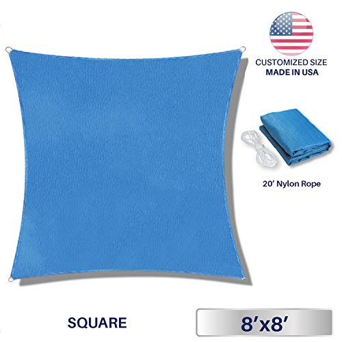 Windscreen4less 8' x 8' Square Sun Shade Sail - Solid Blue Durable UV Shelter Canopy for Patio Outdoor Backyard - Custom by Windscreen4less