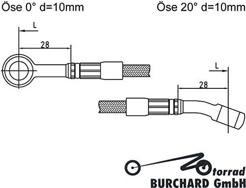 Motorrad Bremsleitung Kupplungsleitung Stahlflex 1250 mm lang 0/° /Öse 20/° /Öse