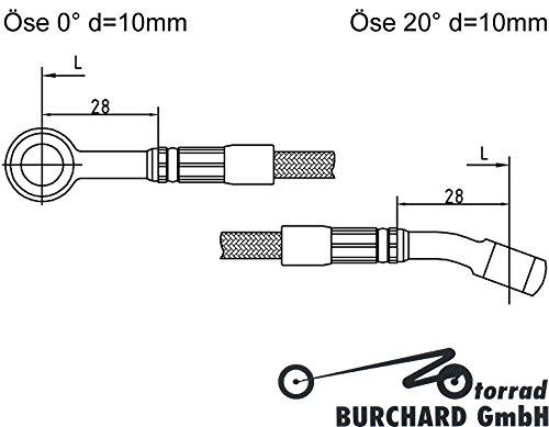 Motorrad Bremsleitung Kupplungsleitung Stahlflex 1800 mm lang 0/° /Öse 20/° /Öse