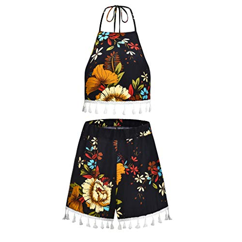 VLDO Sexy Women Printed Sleeveless Bndage Vest Blouse + Shorts Two-Piece Outfit Black ()