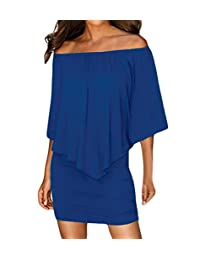 Min Qiao Women's Sexy Off Shoulder Multiple Dress Layered Party Cocktail Mini Dresses