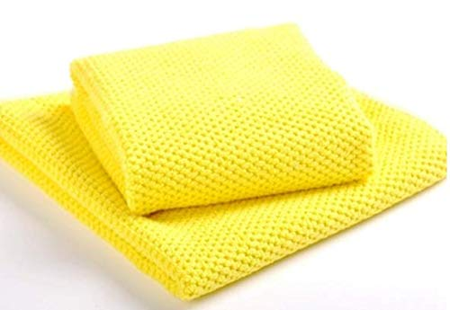 Aniease Microfiber Waffle Lattice Towels Fast Drying Dish Clothes 16Inchx27Inch XL (Yellow, 2)