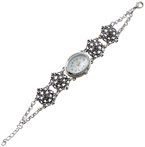 Klassisches Trachtenschmuck Armband mit Uhr - Dirndl Armbanduhr im Antikstil Kristall oder Perle (Hematite schwarz)