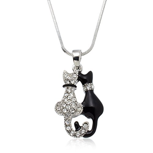 PammyJ Silvertone Double Kitty Black and Crystal Cat Necklace, ()