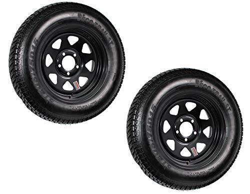 2-Pk Trailer Tire Rim ST205/75D15 15 in. Load C 5 Lug Black Spoke