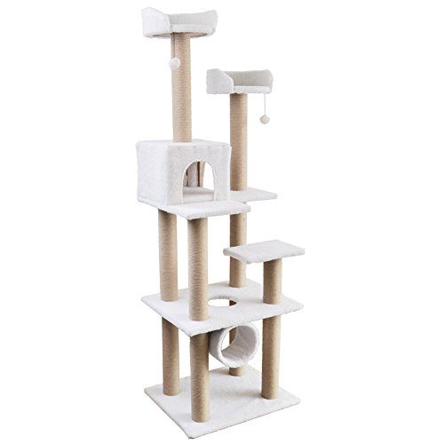 """Roypet 72"""" Tall Cat Activity Tree with Scratching Posts and Condos, Lambwool White"""