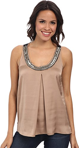 Adrianna Papell Women's Scoop-Neck Tank Top with Beaded Embellishment Khaki Blouse MD