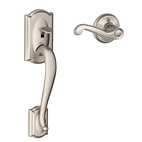 Exterior Front Door Trim (Schlage FE285 CAM 619 FLA RH Camelot Trim Lower Half Front Entry Handleset with Flair Right Hand Lever, Satin Nickel)