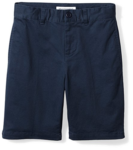Amazon Essentials Big Boys' Flat Front Uniform Chino Short, Washed Navy,12 (Old Navy Khaki Pants)