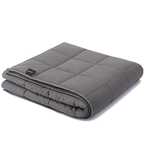 """Fabula Life Weighted Blanket 15lbs for People Weigh Around 140lbs, Weighted Blanket for Adults, Cotton Heavy Blanket with Glass Beads for Calm Deep Sleep, Full Size (72""""x48"""", 15 lb)"""