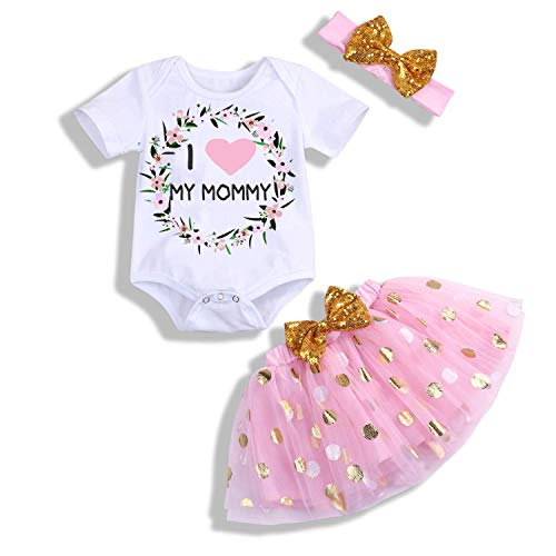 (MILWAY Newborn Baby Girls Mother's Day Outfits Costume Short Sleeve Tutu Romper Dress with Hairband (70/0-6Months, Mother Lovely)