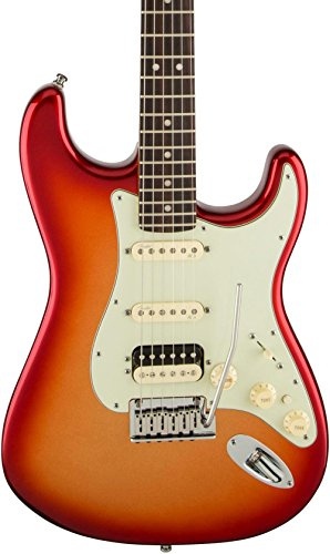 Fender American Deluxe Stratocaster HSS Shawbucker Solid-Body Electric Guitar, Sunset - Stratocaster Guitar Electric Deluxe Hss