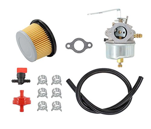 Carburetor Air Filter Fuel Hose Filter Shut Off Valve For Tecumseh 632615 632208 632589 H30 H35 3 3.5 HP 4 Cycle Engine Craftsman Sear Edger Trimmer Generator Replaces Oregon 50-647