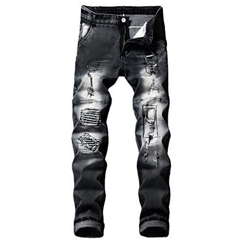 - NUWFOR Men's Stretchy Ripped Skinny Biker Jeans Destroyed Taped Slim Fit Denim Pants(Black,US:29/AS:30 Waist?30.3