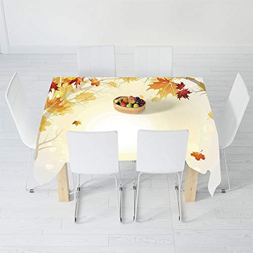 Waterproof Tablecloth,Fall Decorations,for Dining-Table Tea Table Desk Secretaire,84 X 70.1 Inch,Soft Image of Faded Shedding Fall Leaves