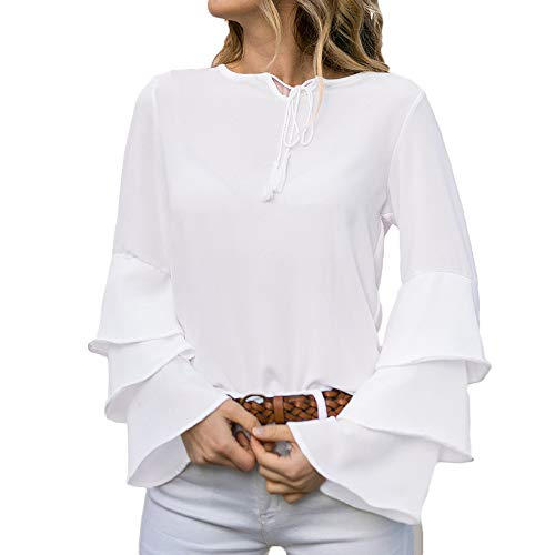 0c77c21fcf Women s Tops- Ruffle Sleeve Roysberry White Dress Lacing T-Shirt Casual  Blouse (L