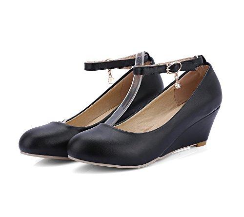 Kitten Heels Shoes PU Women's Solid Toe Buckle WeenFashion Black Pumps Round SxwpqwOE