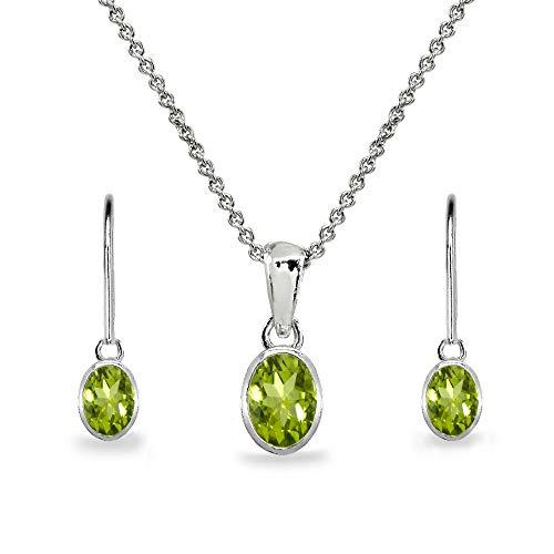 Sterling Silver Peridot Oval Bezel-Set Solitaire Dainty Necklace & Leverback Earrings Set for Women Teen Girls