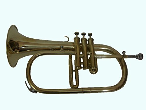 Global Art World Stylish Flat Brass Finishing Flugel Horn Along With Mouthpiece MI 098 by Global Art World