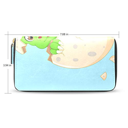 Women Funny Smile Baby Dinosour Egg Hatch Leather Wallet Large Capacity Zipper Travel Wristlet Bags Clutch Cellphone Bag