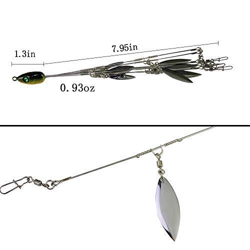 Ilure 5 Arms Alabama Umbrella Rig Fishing Ultralight Tripod Bass Lures Bait Kit Junior Ultralight Willow Blade Multi-Lure Rig (8 Blade kit (43pcs)) by Ilure (Image #3)