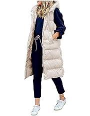 Briskorry Dames lang gewatteerd vest dik los donsvest effen donsjas met zakken warm gewatteerde jas mouwloos slim giilet oversized capuchon jas