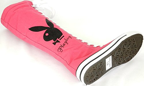 New Fasion Women Canvas Sneakers Punk flat Skatter Knee High Lace up Shoes Play Boy RhAxyL