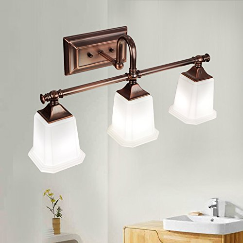JiaYouJia Retro Classic Antique Copper White Glass Square Shade Indoor Lighting Bath Vanity Light (3-light) Copper Bathroom Vanity Light