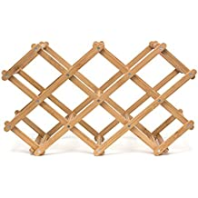 "Lipper International 8314 Folding Bamboo Wood 10-Bottle Wine Rack, 19-5/8"" x 7-1/2"" x 3"""