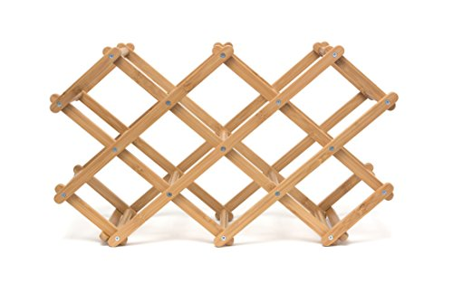 Lipper International 8314 Folding Bamboo Wood 10-Bottle Wine Rack, 19-5/8