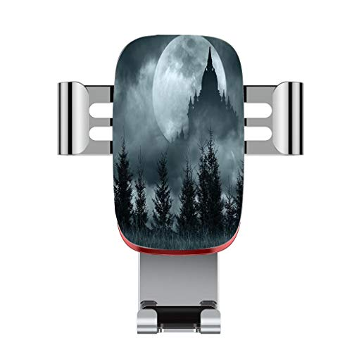 Metal automatic car phone holder,Halloween,Magic Castle Silhouette over Full Moon Night Fantasy Landscape Scary F,adjustable 360 degree rotation, car phone holder compatible with 4-6.2 inch smartphone ()