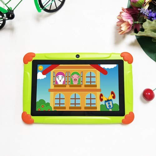 7 Inch Kids Android 8.1 Tablet, Tablet PC with Quad Core, 2 GB RAM 32 GB ROM, 1280 800 HD Tablet with Silicone Case, Dual Camera, Bluetooth, Wi-Fi and GPS (Green)