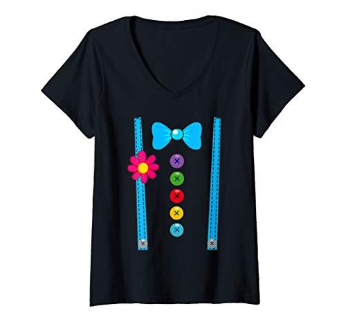 Womens Clown Costume Shirt Funny DYI Circus Halloween Costumes Tee V-Neck T-Shirt -