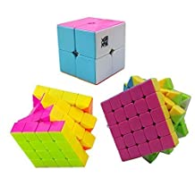 Qm-h Set of 2x2x2 4x4x4 5x5x5 Moyu Stickerless Speed Magic Cube 3 Pieces Pink