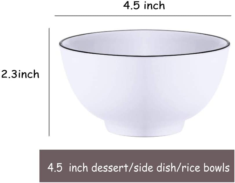AnBnCn 10 Packs 12-Ounce Porcelain Small Cereal Bowl Set for Ice Cream Dessert Small Side Dishes Fruit-Salad Dip- White