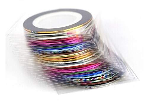 Jammas Fashion 12rolls/Pack Multicolor Nails Striping Tape Line DIY Nail Art Tips Decoration Sticker Ribbons by Jammas