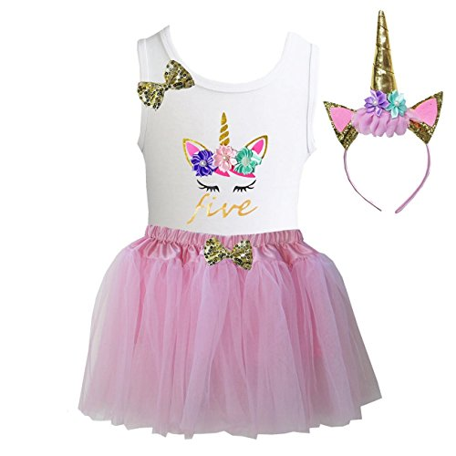 Kirei Sui Girls Light Pink Tulle Tutu Birthday Unicorn M Five (Birthday Outfit Girl)