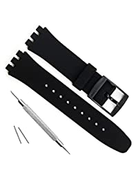 Ultra-thin Swatch Replacement 16mm Waterproof Silicone Rubber Watch Strap Watch Band (16mm, Black)