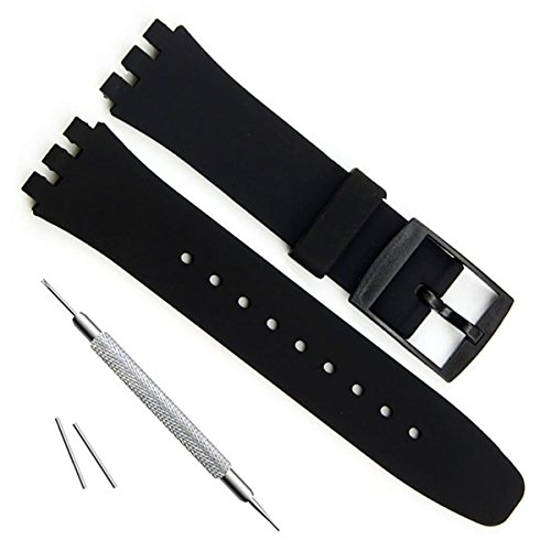 nt Waterproof Silicone Rubber Watch Strap Watch Band for Swatch Skin Series (16mm, Black) ()