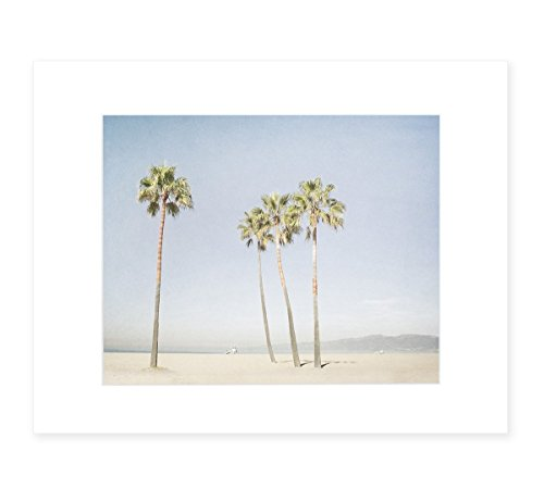 California Wall Art, Venice Beach Palm Tree Art, Santa Monica Coastal Wall Decor, Tropical Beach Picture, 8x10 Matted Photographic Print (fits 11x14 frame), 'Boardwalk Palms' by Offley Green