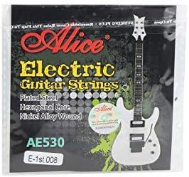 Alice - Cuerdas para guitarra eléctrica (5 unidades, calibre extra ligero, parte superior E 1er, acero liso)