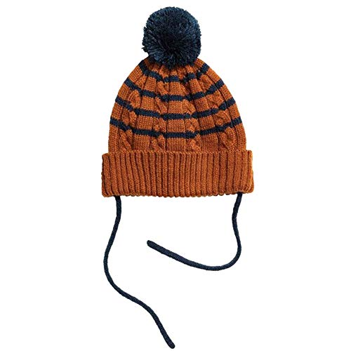 (XRDSS Kids Knitted Crochet Beanie Hat Fashion Striped Hedging Cap Earflap Hat XS)
