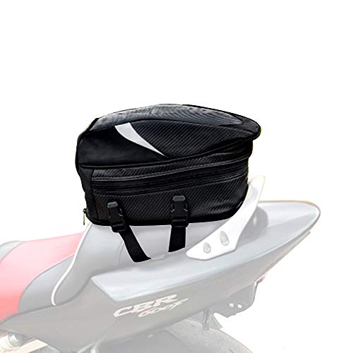- Motorcycle Seat Bag/Tail Bag Saddlebags Waterproof Luggage Bag Multifunctional PU Leather Motorbike Helmet Bag Storage Bag Riding Backpack,18.5 Liters