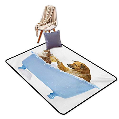 - Cat Indoor Super Absorbs Mud Doormat Dog and Kitty in The Bathtub Together with Bubbles Shampooing Having Shower Fun Artsy Print Water Absorption, Anti-Skid and Oil Proof 40