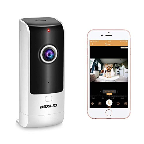 Wireless Security WiFi Camera with Call Button, DEXILIO Home Surveillance Indoor IP Camera for Baby/Elder/Pet/Nanny Monitor, 180°Fisheye/Two-Way Audio/Motion Detection/Cloud Storge,Free 32GB Card